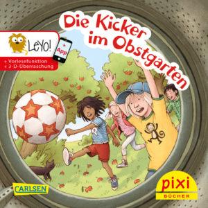 Veröffentlichungen Titelseite vom Pixi-Buch Die Kicker im Obstgarten - Fußball